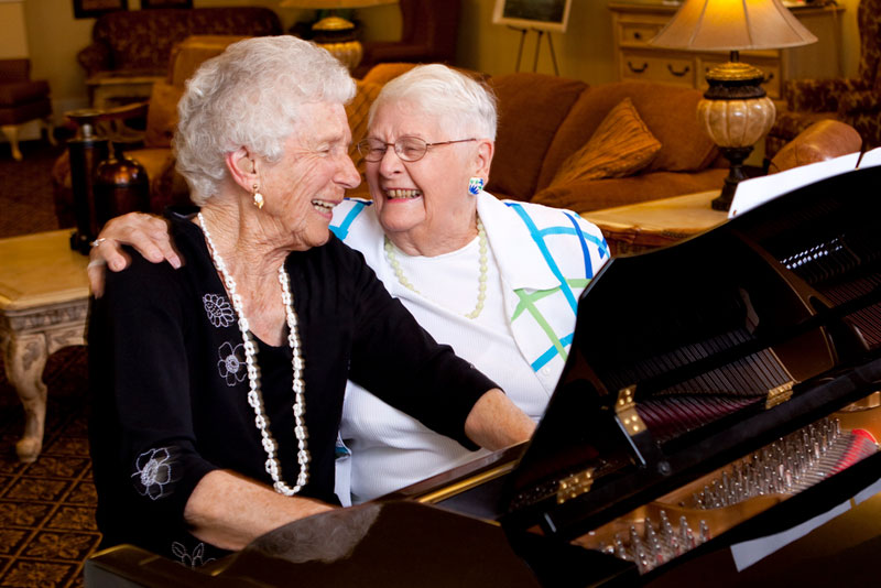 Residents playing piano